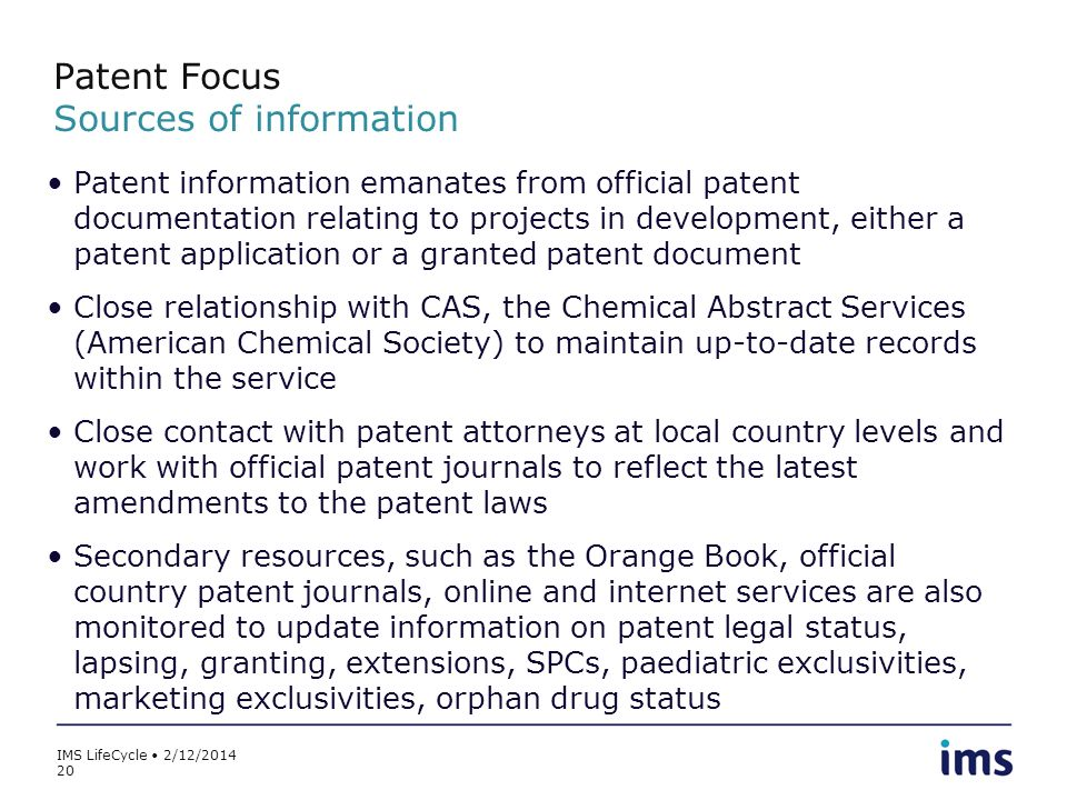 Patent Focus Sources of information