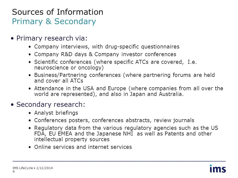 Sources of Information Primary & Secondary