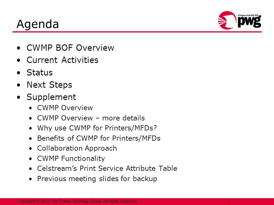 Agenda CWMP BOF Overview Current Activities Status Next Steps
