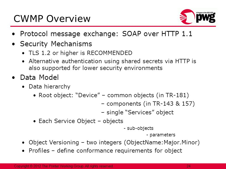 CWMP Overview Protocol message exchange: SOAP over HTTP 1.1