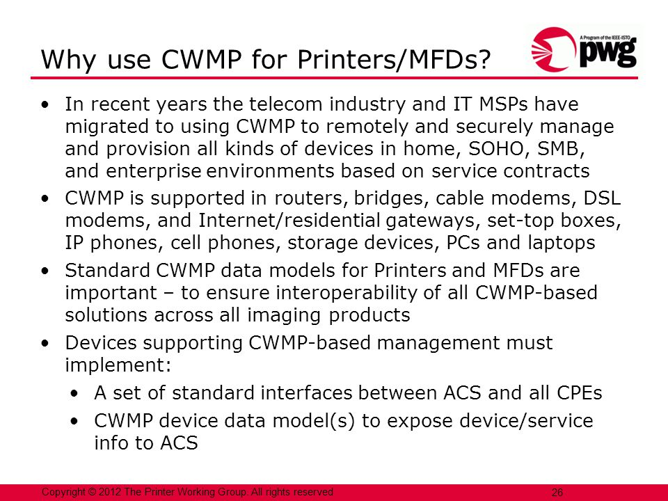 Why use CWMP for Printers/MFDs