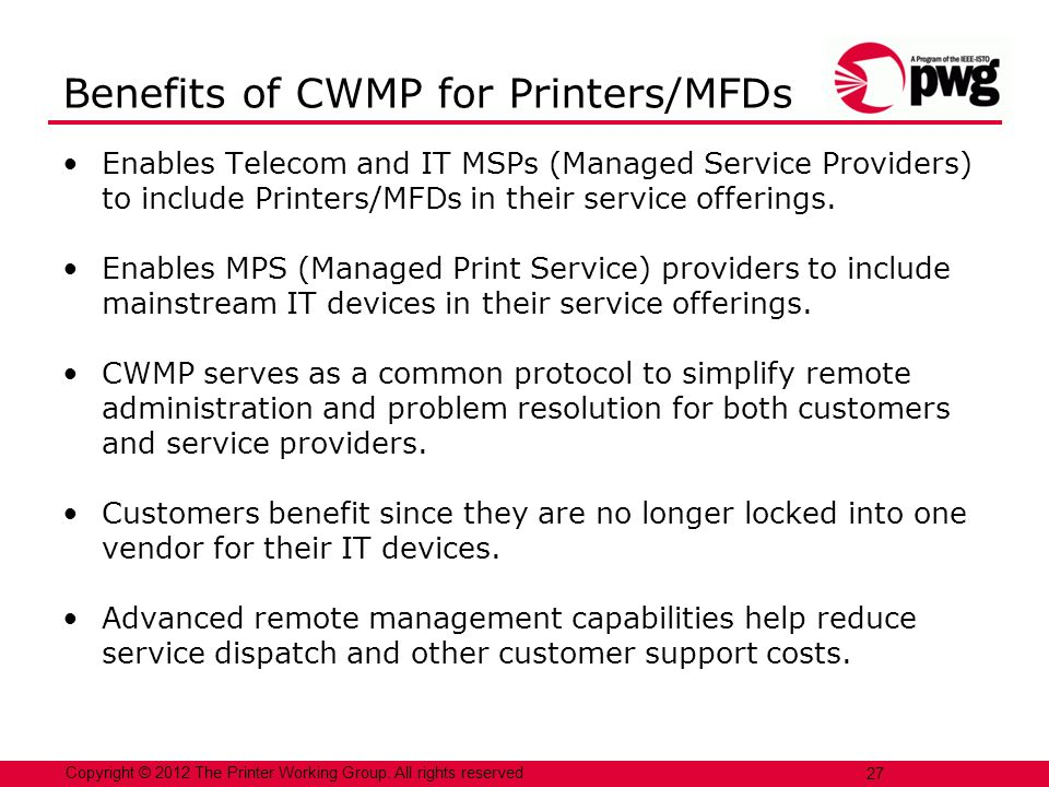 Benefits of CWMP for Printers/MFDs