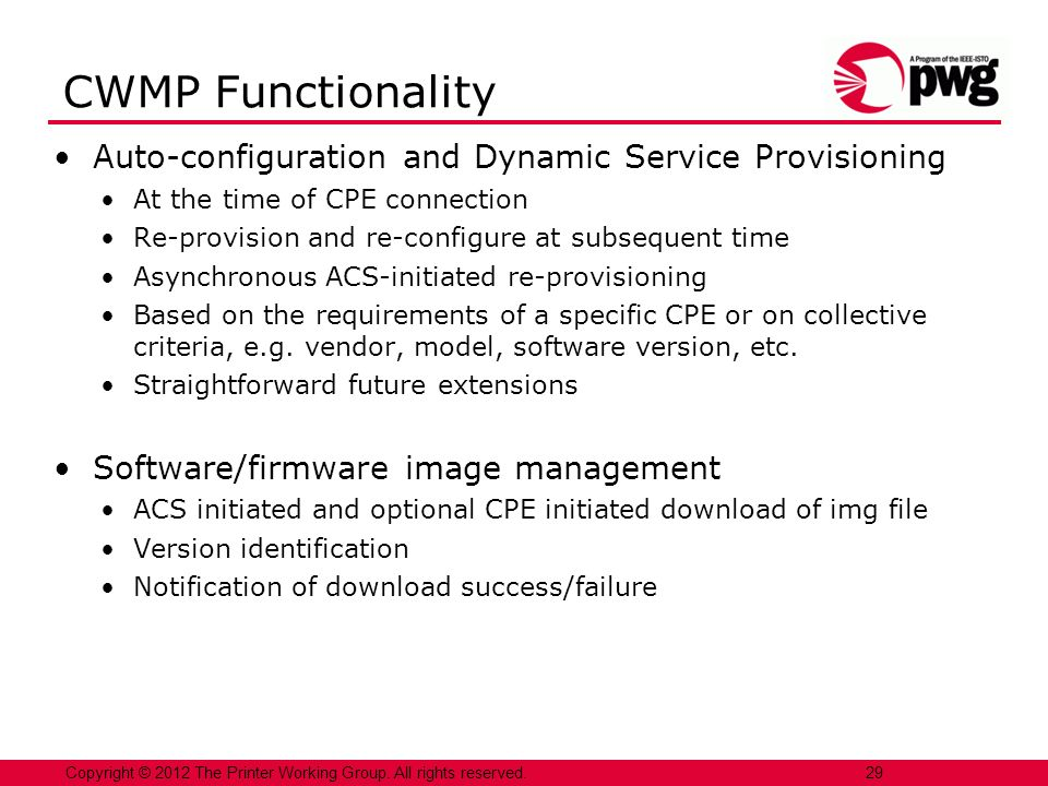 CWMP Functionality Auto-configuration and Dynamic Service Provisioning