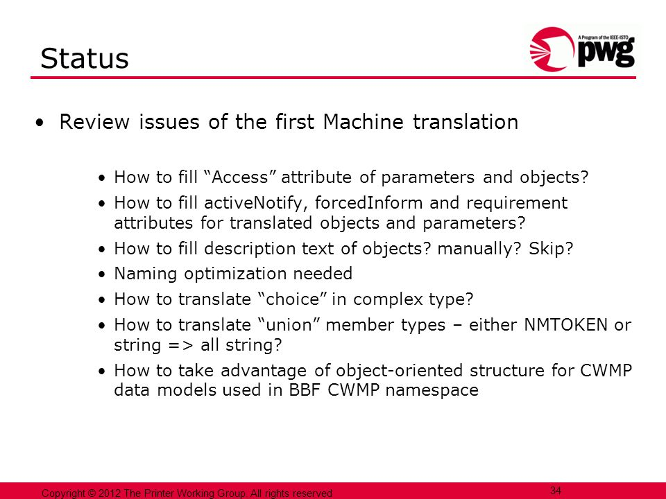Status Review issues of the first Machine translation