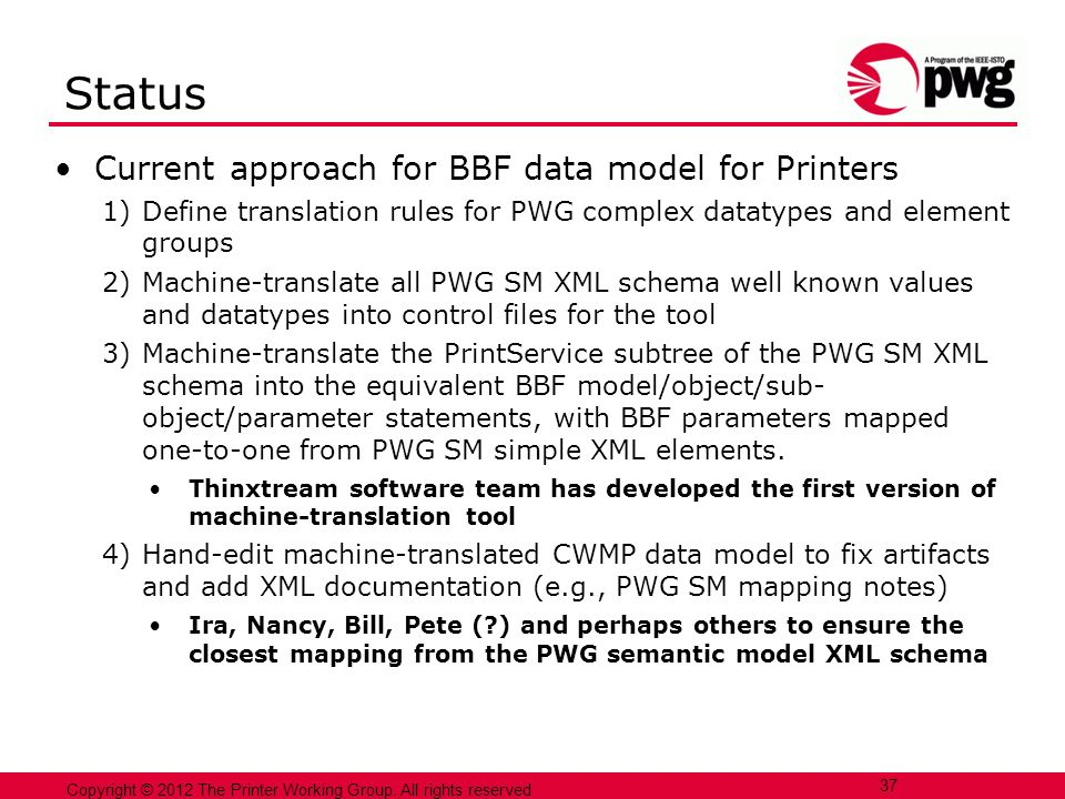 Status Current approach for BBF data model for Printers