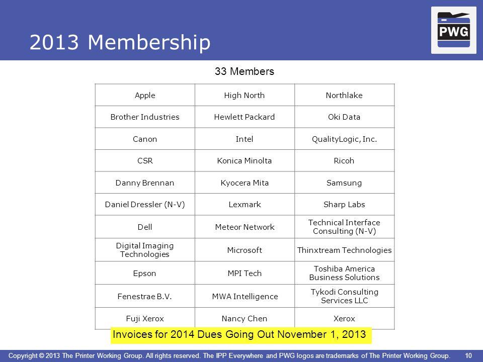 2013 Membership 33 Members. Apple. High North. Northlake. Brother Industries. Hewlett Packard.