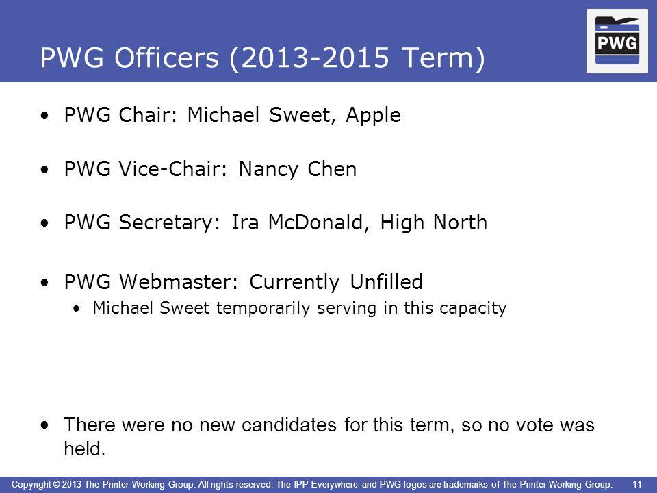 PWG Officers (2013-2015 Term) PWG Chair: Michael Sweet, Apple