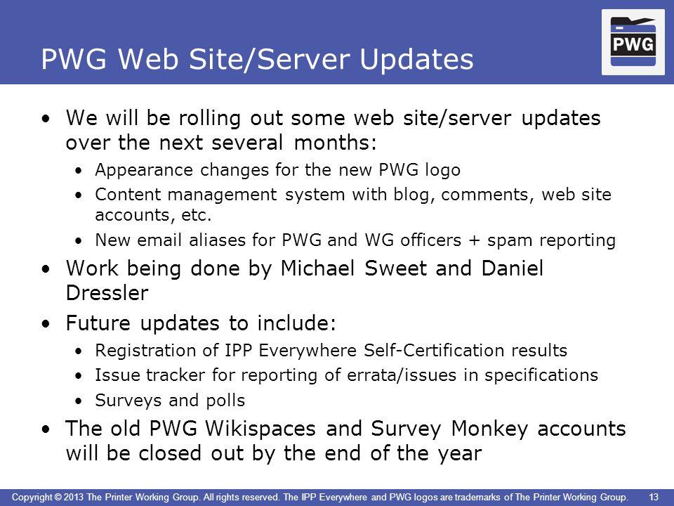 PWG Web Site/Server Updates
