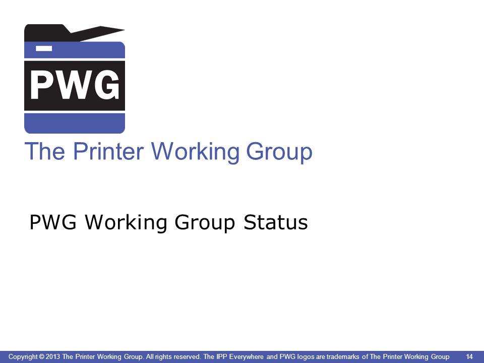 PWG Working Group Status