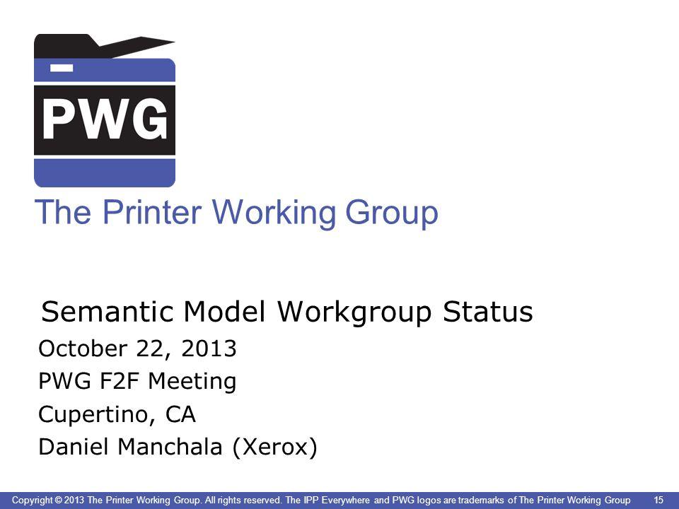 Semantic Model Workgroup Status