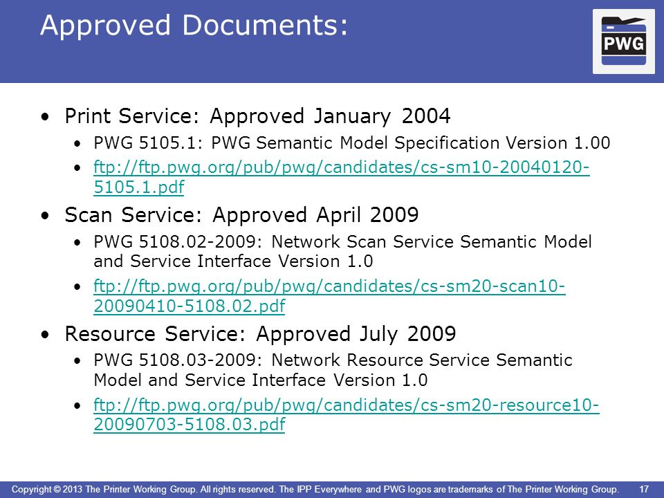 Approved Documents: Print Service: Approved January 2004