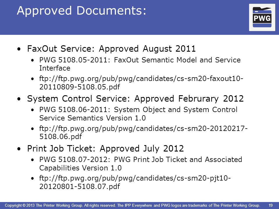 Approved Documents: FaxOut Service: Approved August 2011