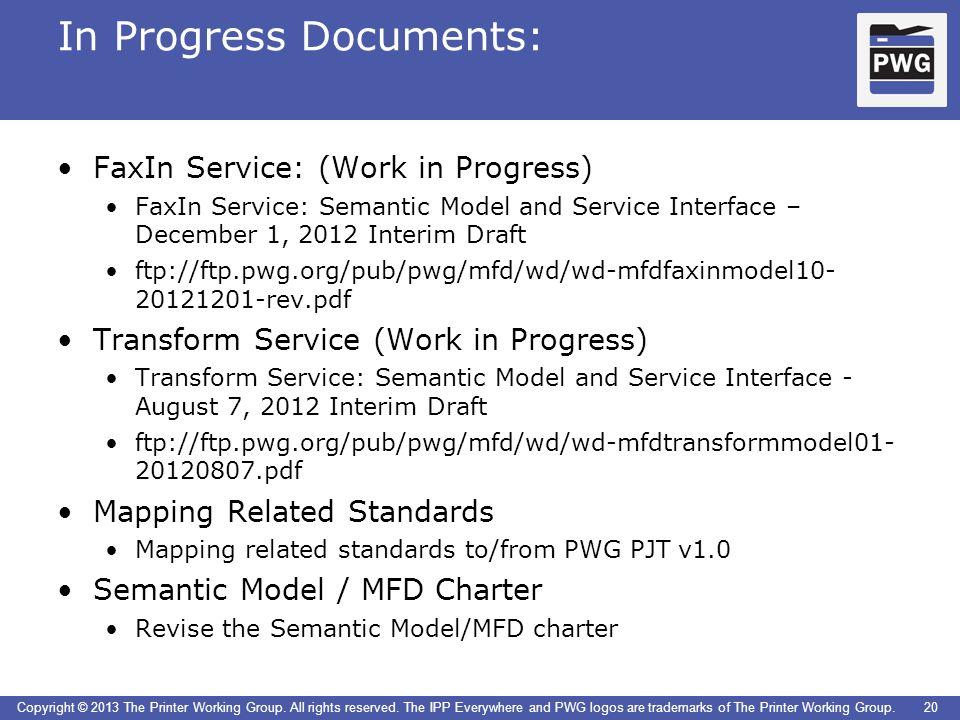 In Progress Documents: