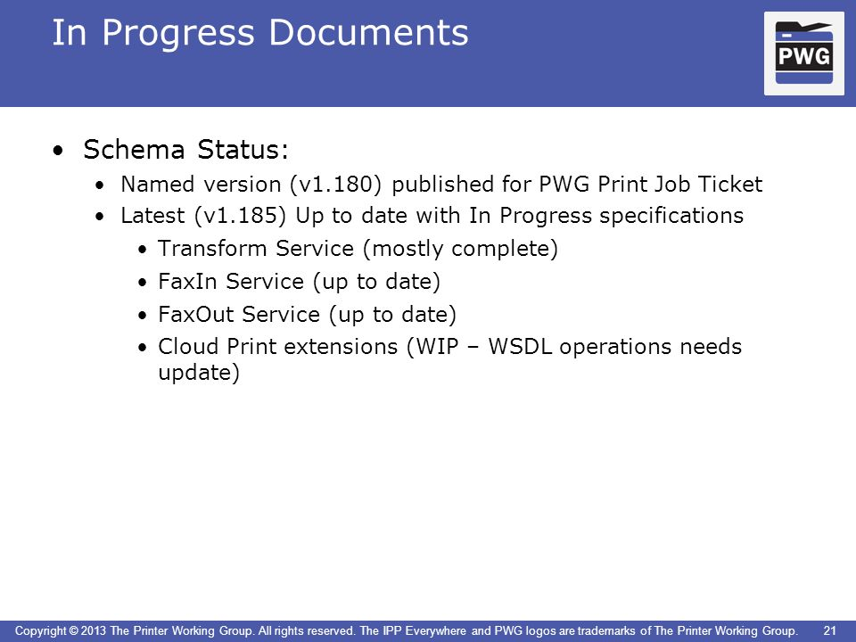 In Progress Documents Schema Status: