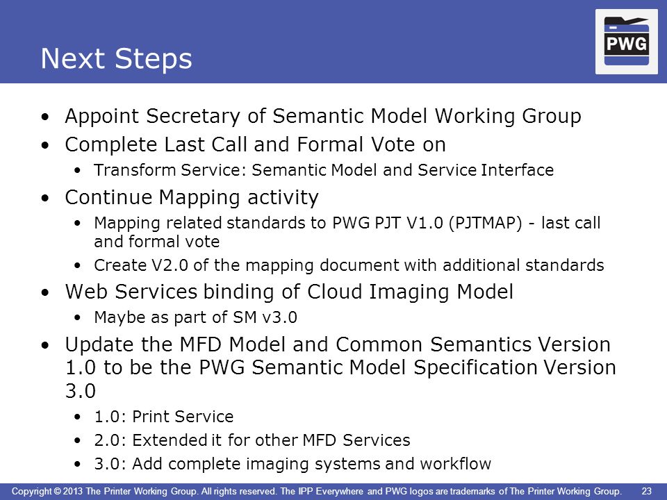 Next Steps Appoint Secretary of Semantic Model Working Group