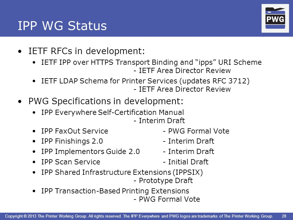 IPP WG Status IETF RFCs in development: