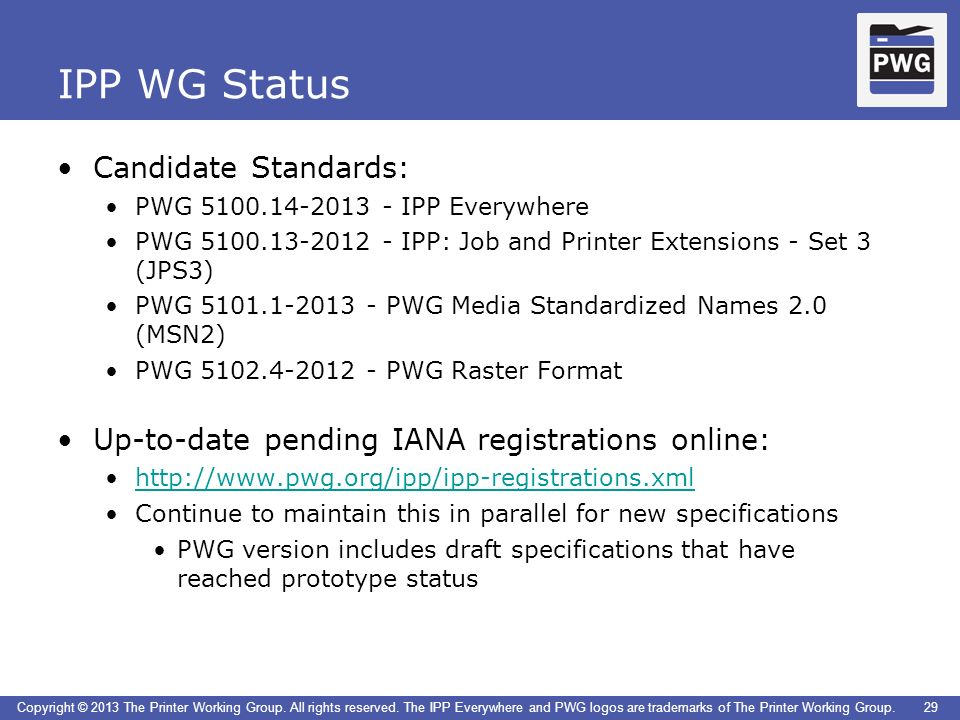 IPP WG Status Candidate Standards: