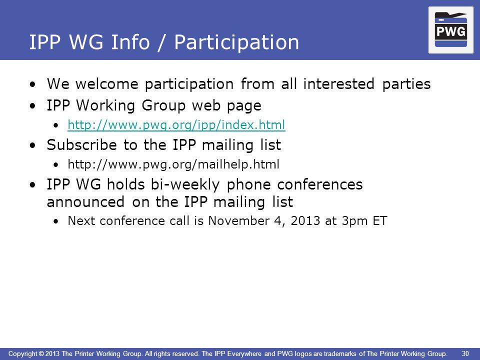IPP WG Info / Participation