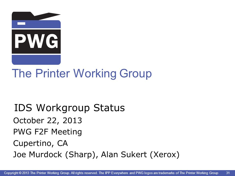 The Printer Working Group