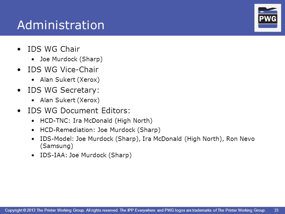 Administration IDS WG Chair IDS WG Vice-Chair IDS WG Secretary: