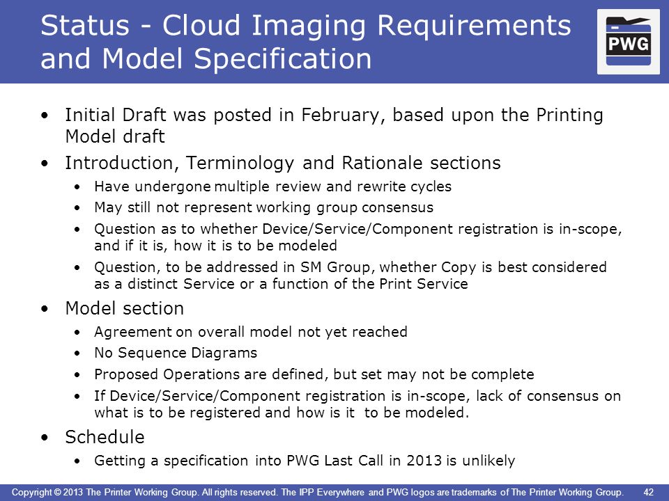 Status - Cloud Imaging Requirements and Model Specification