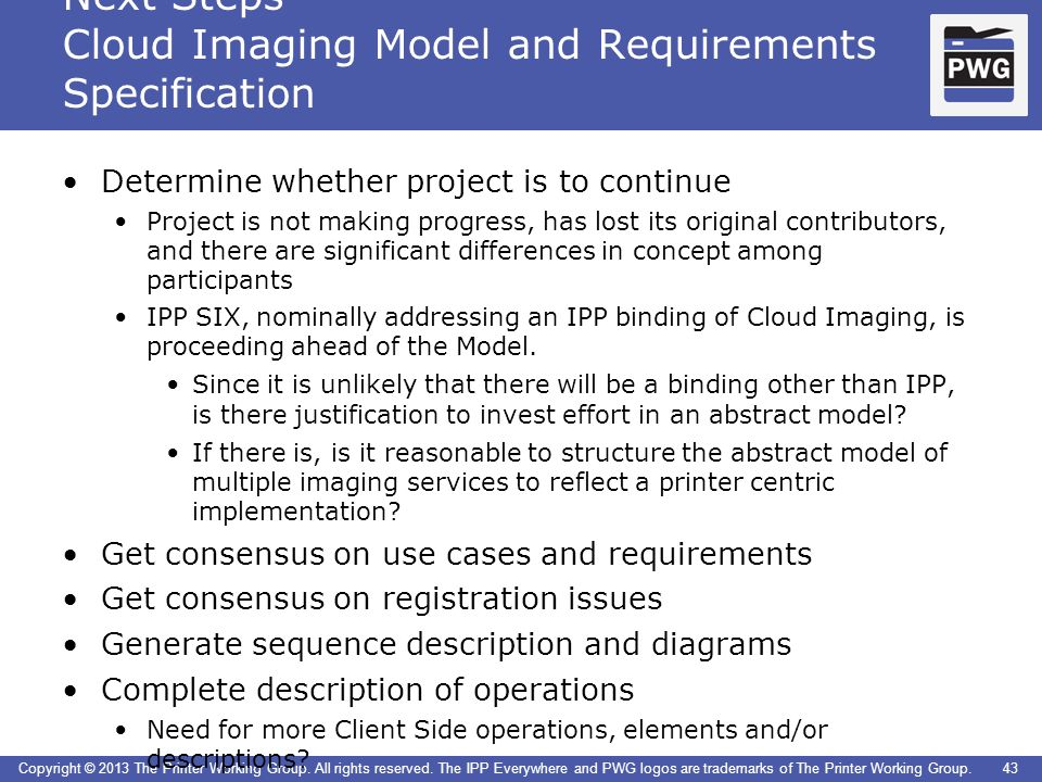 Next Steps Cloud Imaging Model and Requirements Specification