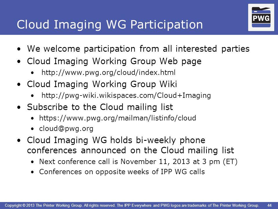 Cloud Imaging WG Participation