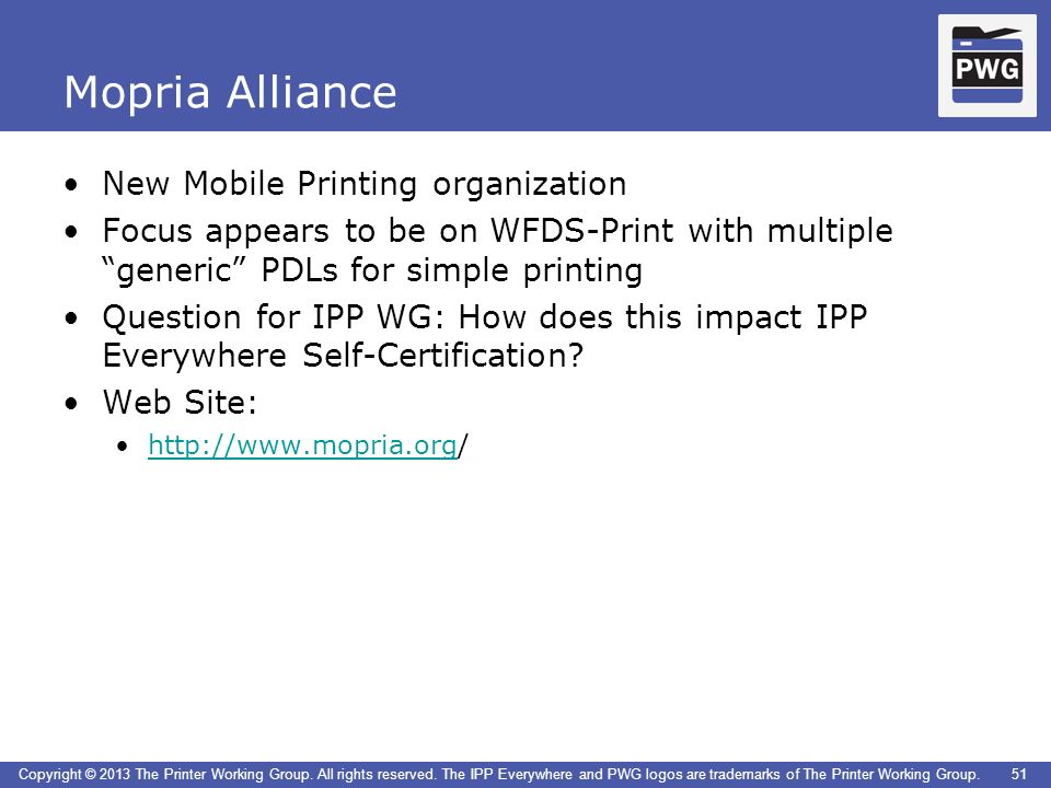 Mopria Alliance New Mobile Printing organization
