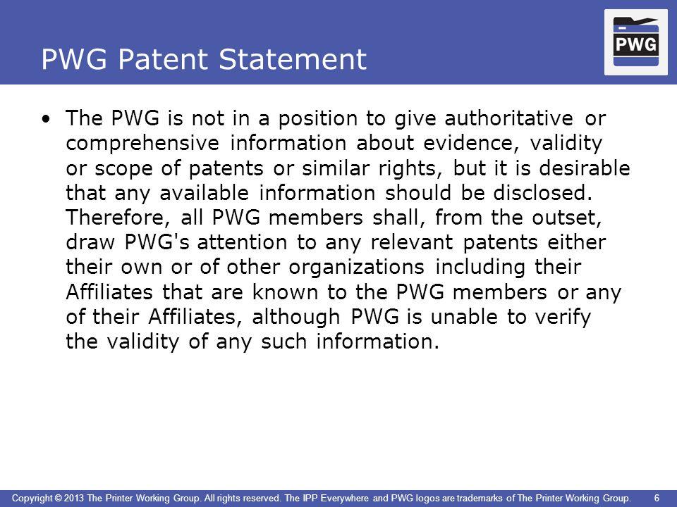 PWG Patent Statement