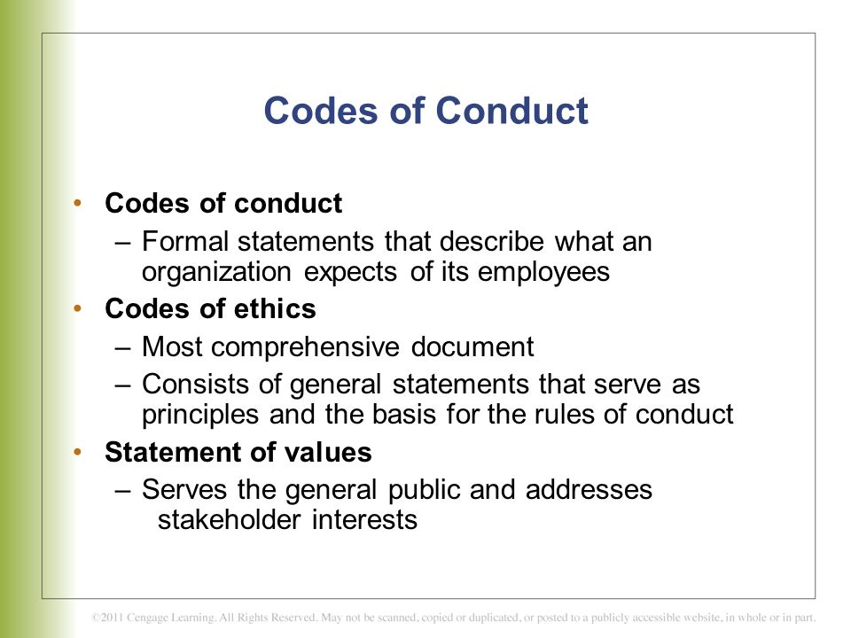 Codes of Conduct Codes of conduct