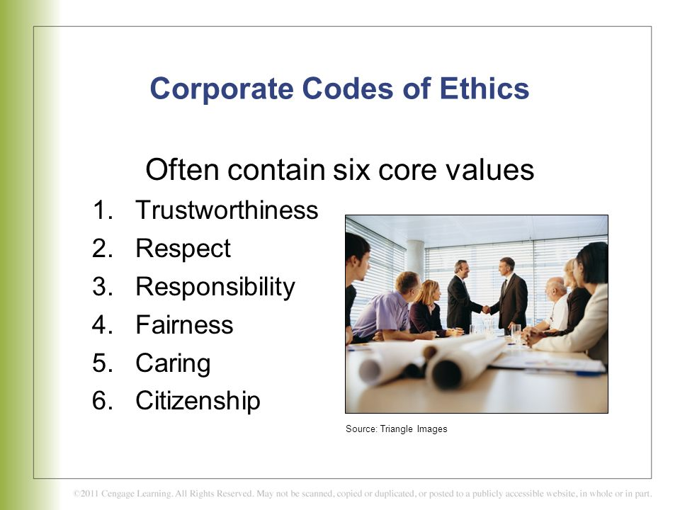 corporate codes of ethics and the Corporate values establish ethical obligations in the workplace what comprises a code of ethics in the workplace this is an issue i have addressed before and want to revisit in light of recent questions raised about corporate ethics.