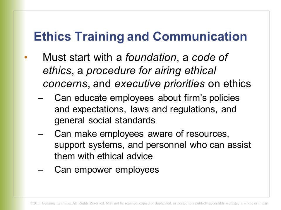 Ethics Training and Communication
