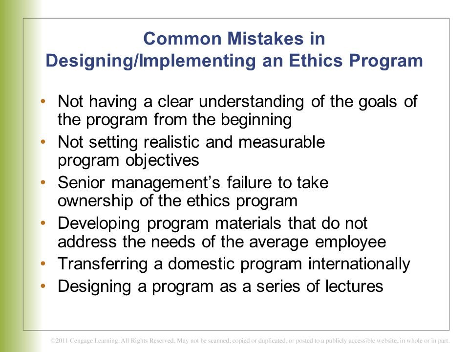 Common Mistakes in Designing/Implementing an Ethics Program