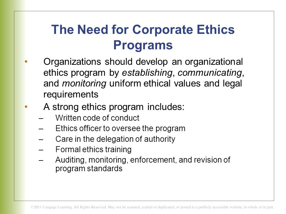 The Need for Corporate Ethics Programs