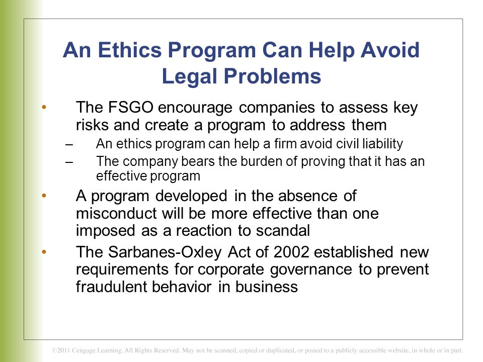 An Ethics Program Can Help Avoid Legal Problems