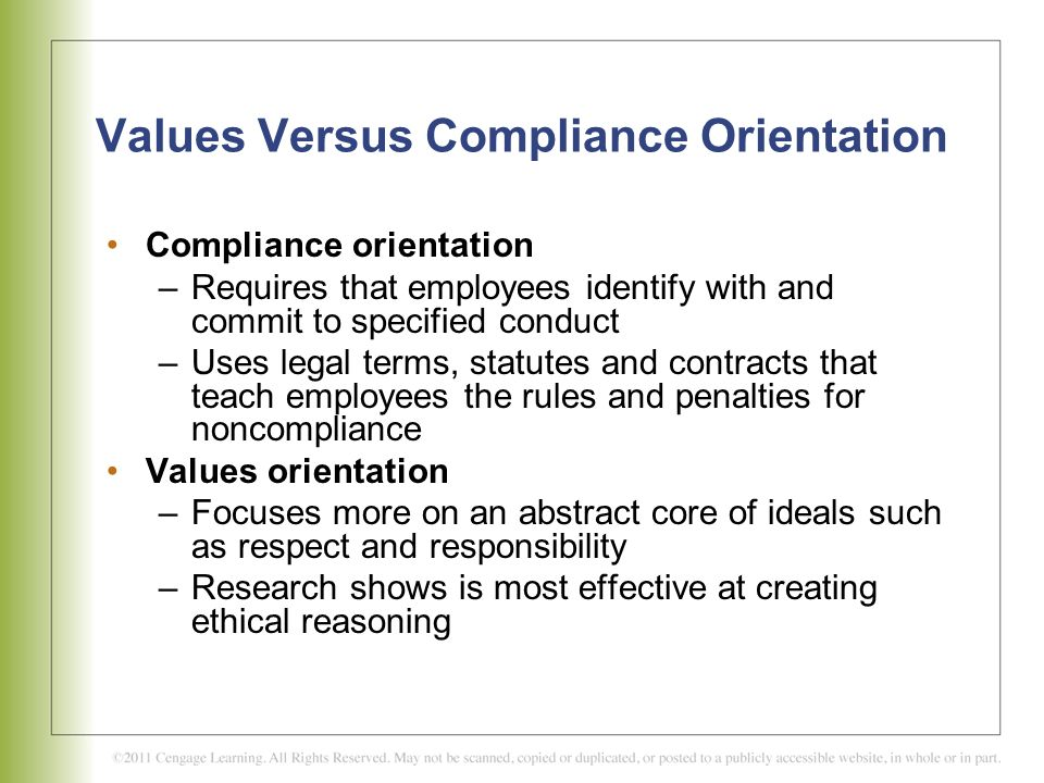 Values Versus Compliance Orientation
