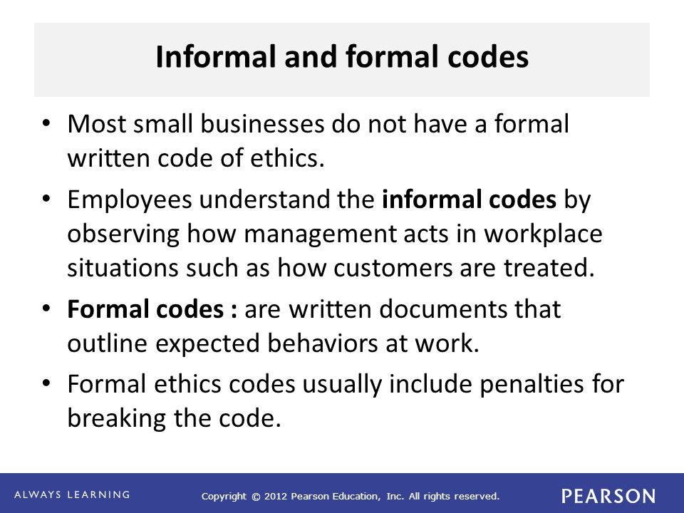 Informal and formal codes