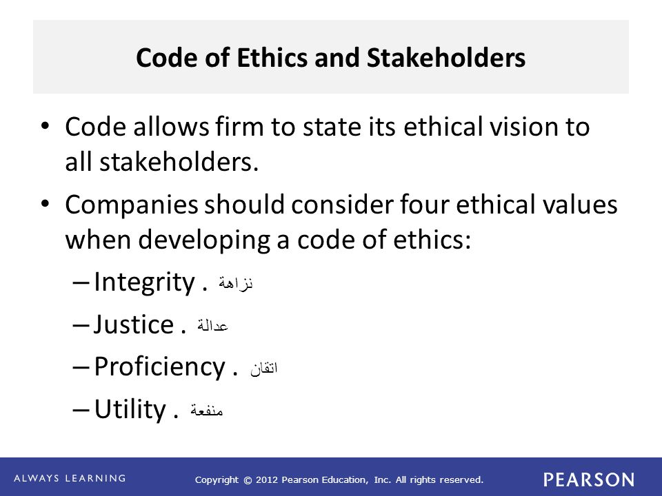 Code of Ethics and Stakeholders