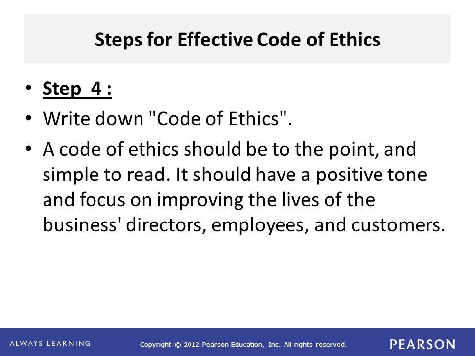 Steps for Effective Code of Ethics