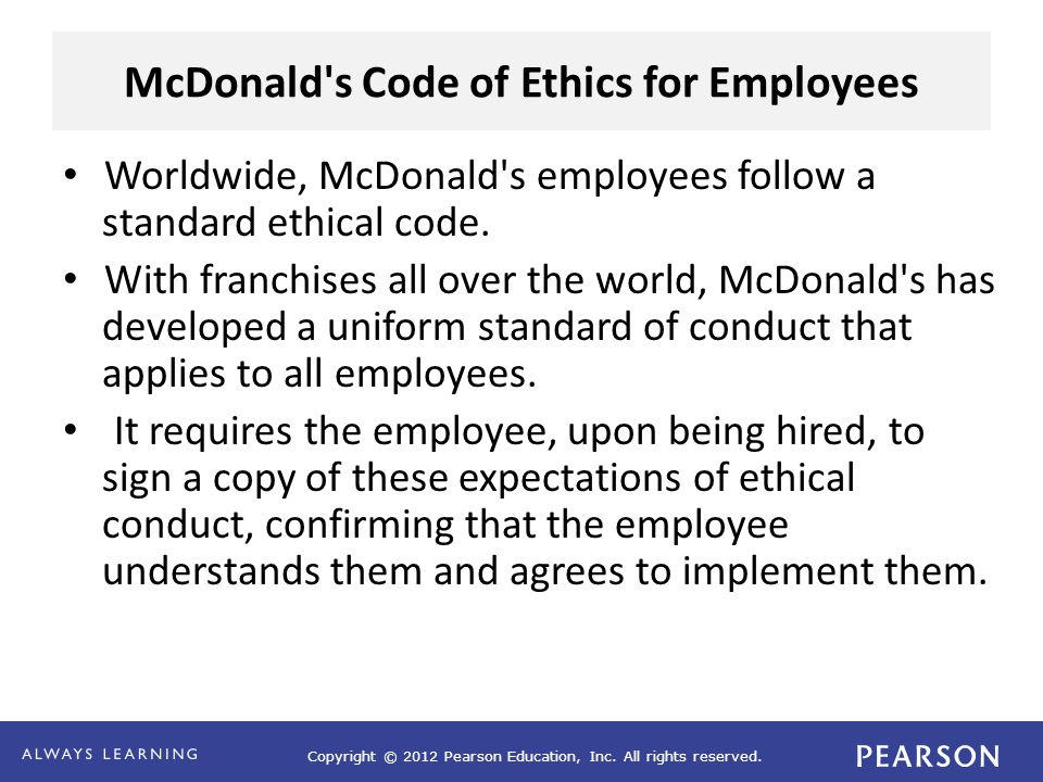McDonald s Code of Ethics for Employees