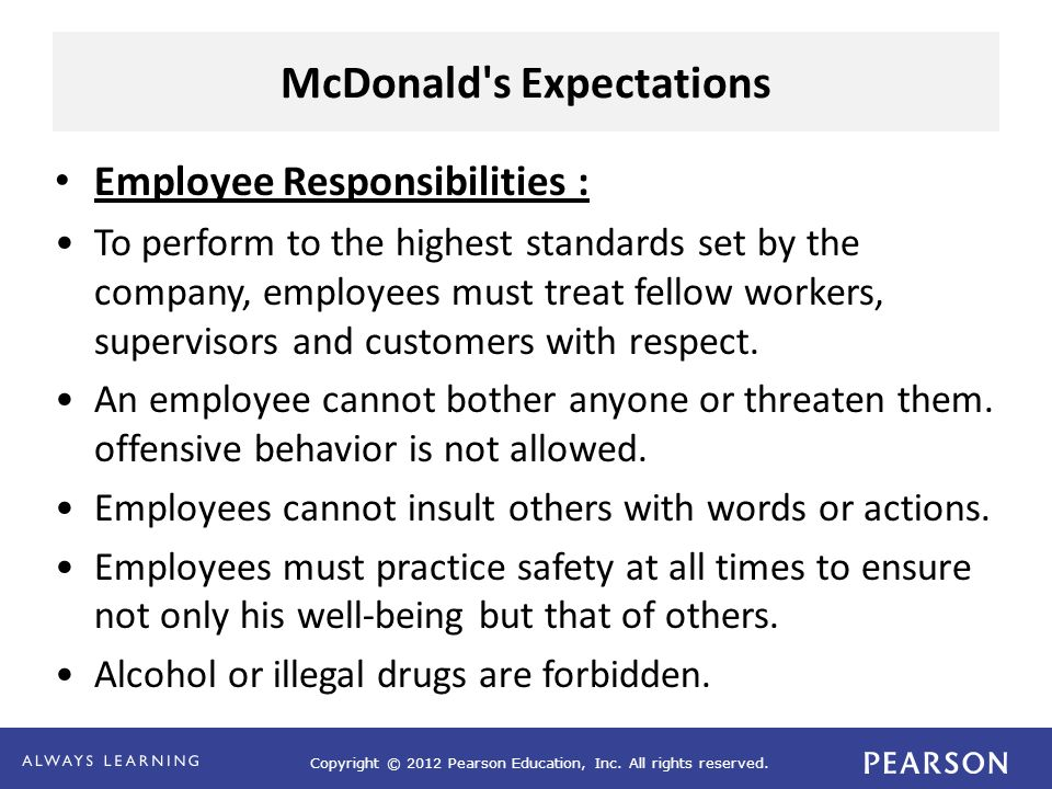 McDonald s Expectations