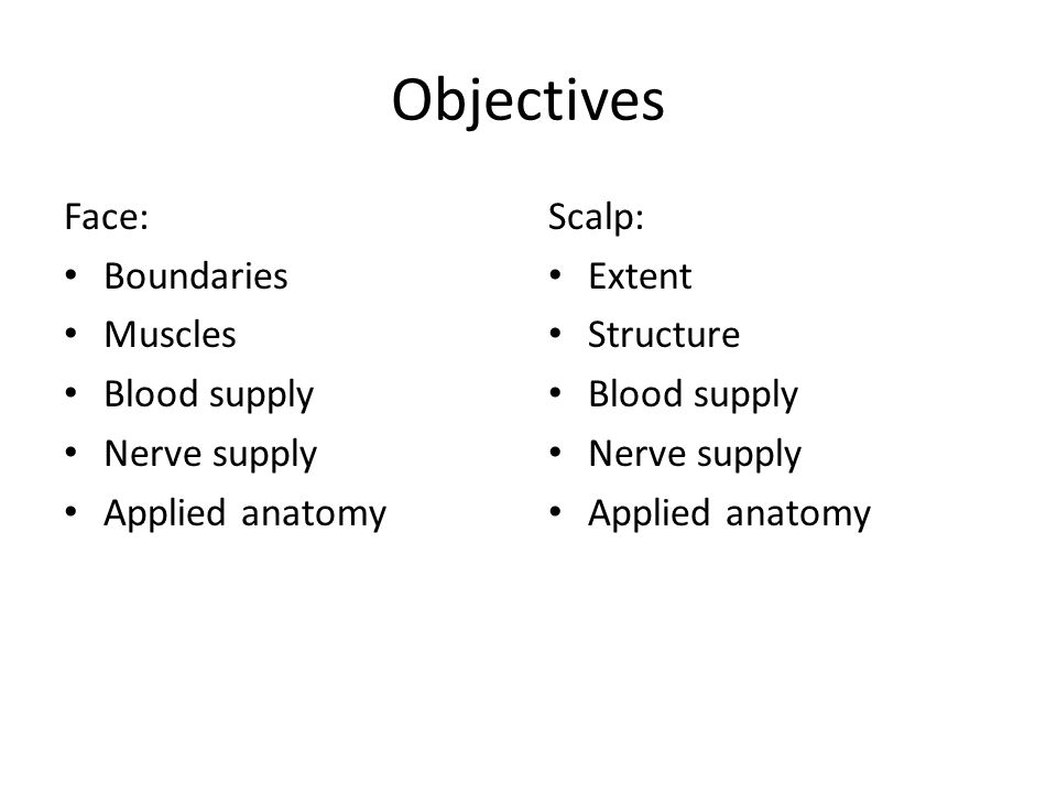 Objectives Face: Boundaries Muscles Blood supply Nerve supply