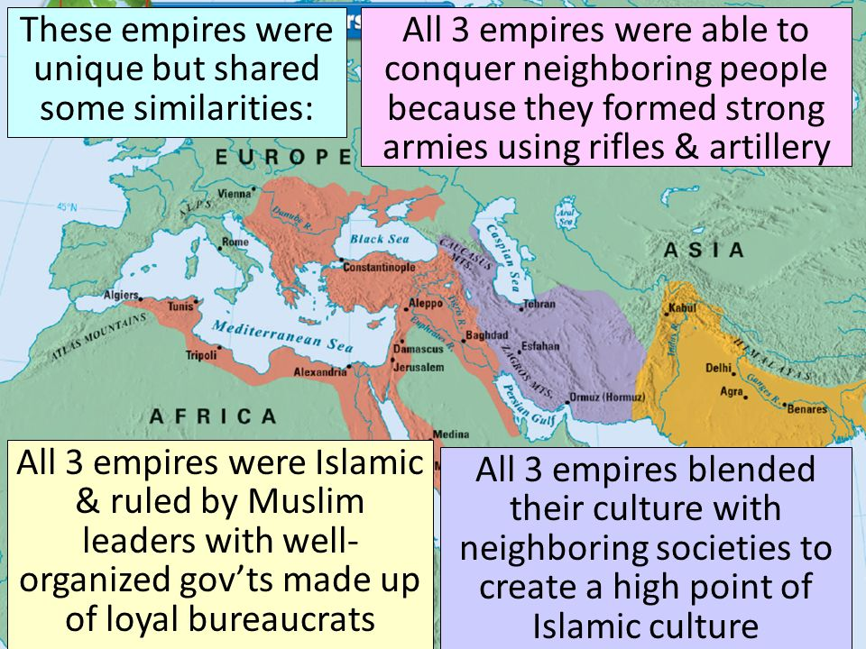 Compare the Islamic empires and the Byzantine empire