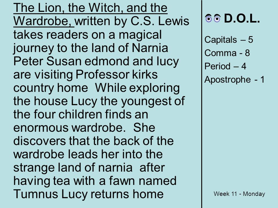 book report the lion the witch and the wardrobe summary After the rooms full of books, they found a room that was empty except for a big  wardrobe with a looking-glass in the door 4 when lucy found herself standing  in.