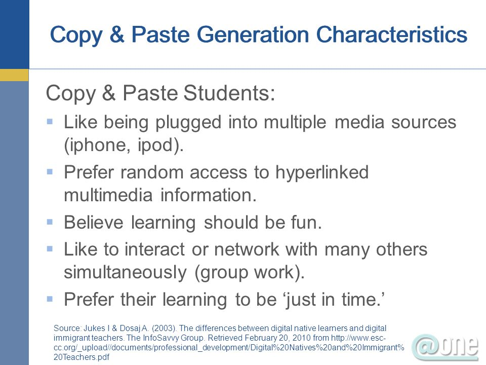 Copy & Paste Generation Characteristics