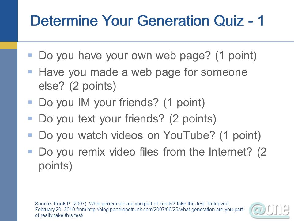 Determine Your Generation Quiz - 1