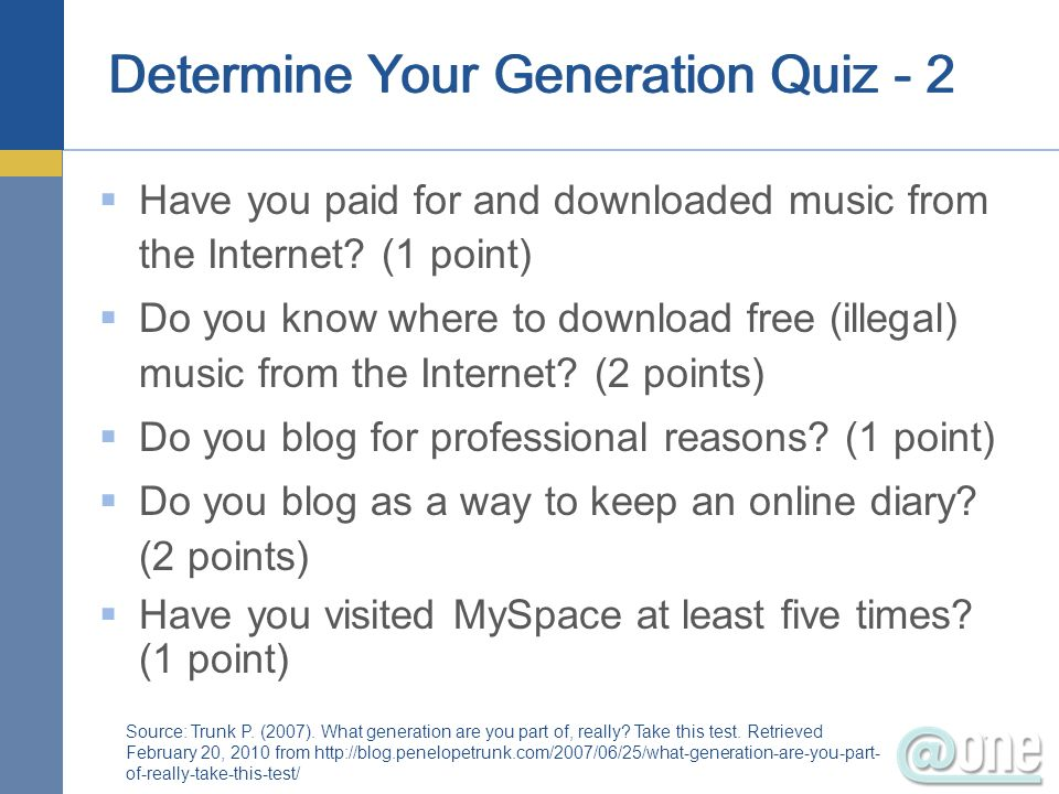 Determine Your Generation Quiz - 2