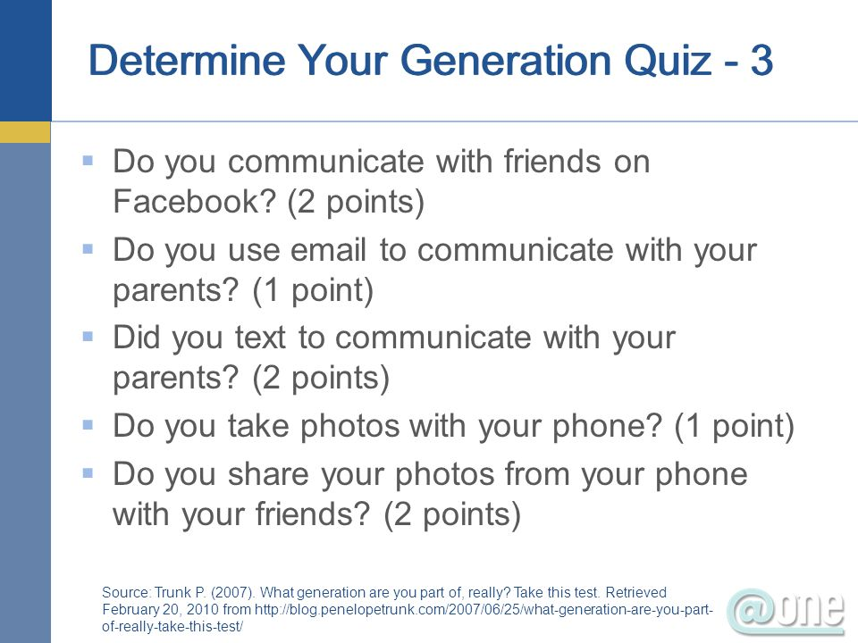Determine Your Generation Quiz - 3