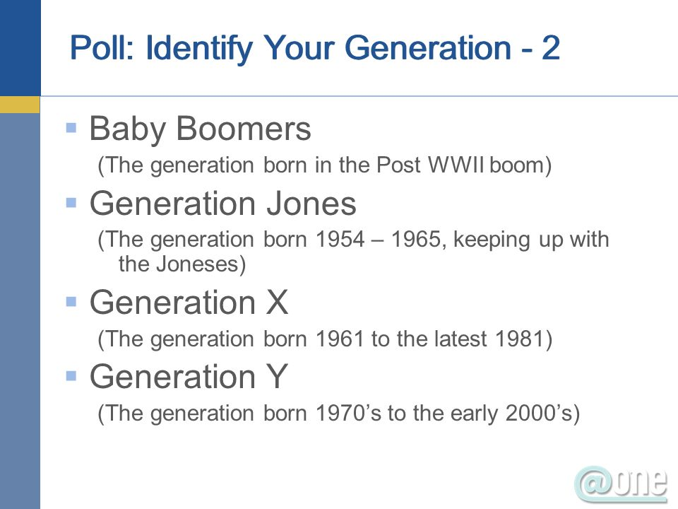 Poll: Identify Your Generation - 2