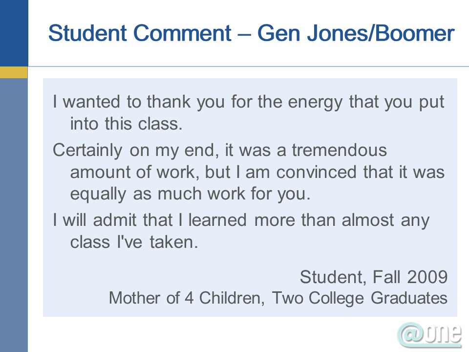 Student Comment – Gen Jones/Boomer